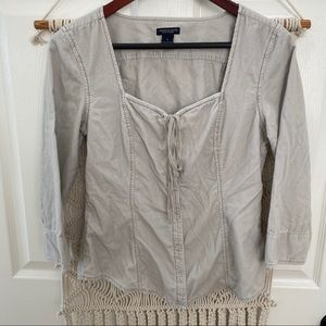 AEO Corduroy Peasant Top 3/4 Sleeve